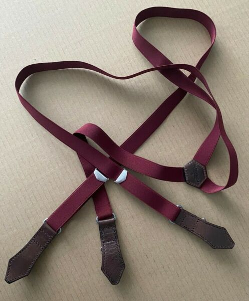 Dsquared2 Slim Suspenders Maroon Brown Leather Trim Adjustable Made in Italy $125.00