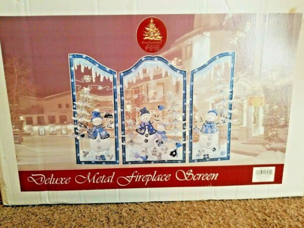Enchanted Forest 2002 NEW Deluxe Metal Snowman Christmas Fireplace Screen