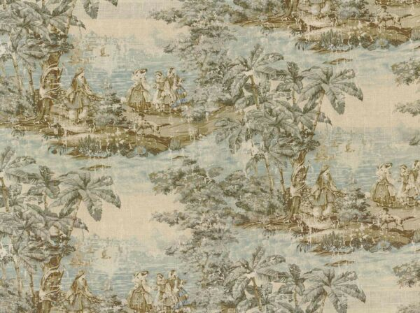Bosporus Flax Spa Blue Linen Blend Toile Covington Fabric $19.99