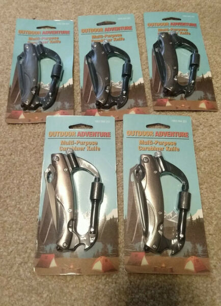 Outdoor Adventure Multi purpose Carabiner Knife Pack Lot of 5 Stocking Stuffer $24.99