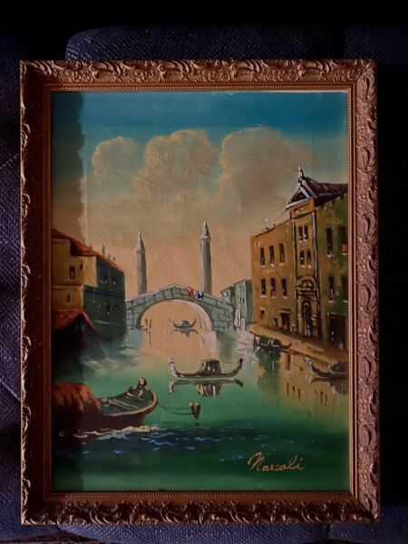 Oil Painting On Canvas. Venice. Signed Narcoli. 17.5 X 13.5