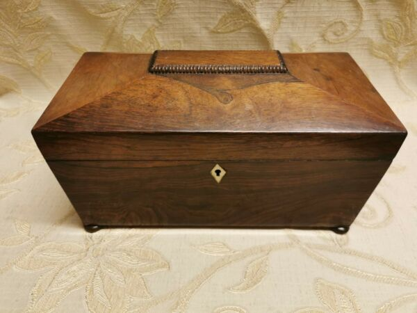An Early Victorian Rosewood Tea Caddy Box Of Sarcophagus Shape With Hinged Lid