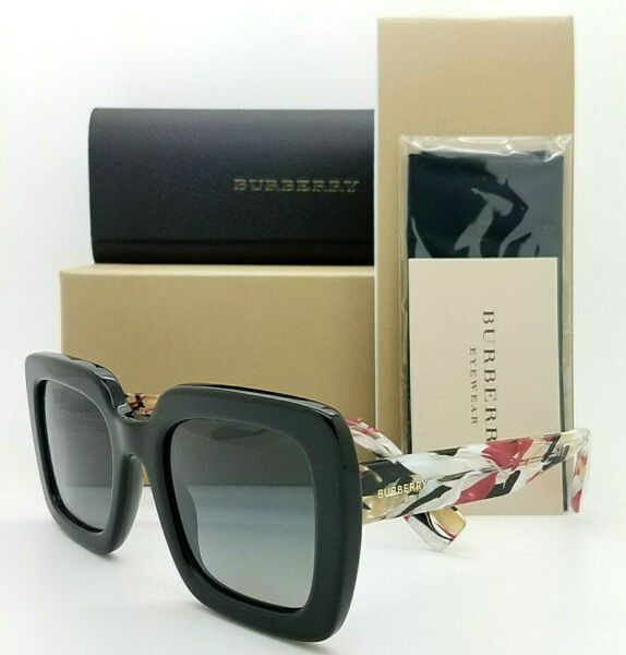 NEW Burberry Sunglasses BE4284 3803T3 52mm Black Grey Polarized AUTHENTIC Mosaic $206.95