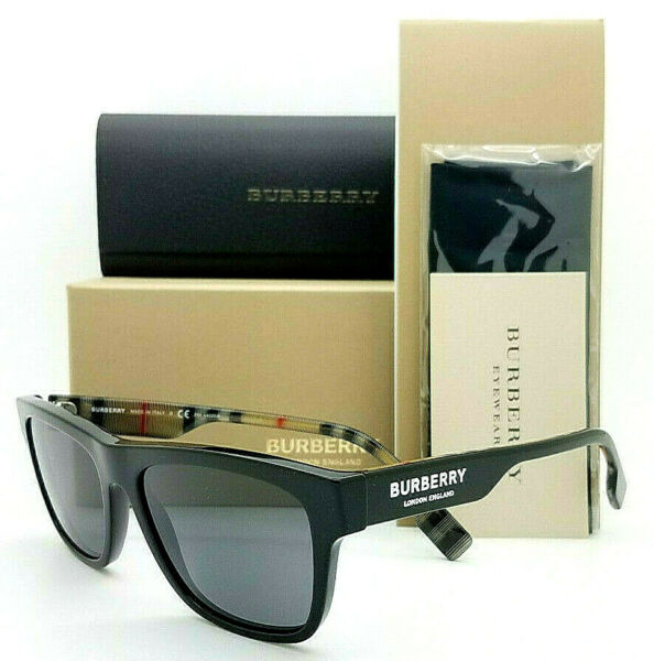 NEW Burberry Sunglasses BE4293 377381 56mm Square Black Grey Polarized Plaid $175.49