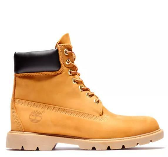 Timberland Men#x27;s 6 inch basic Boot Wheat Nubuck padded collar 18094 713 $136.00