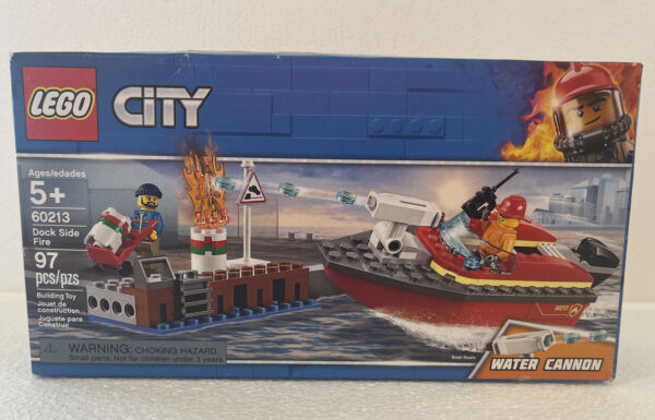 LEGO City Dock Side Fire Set Fireman Water Cannon 60213 NIB