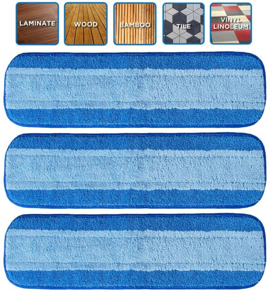 VanDuck Microfiber Cleaning Pads Compatible with Bona Mop 3 Pack . Hardwood ...
