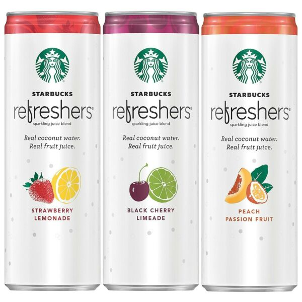 Starbucks Refreshers with Coconut Water 3 Flavor Variety Pack 12 fl Oz. Ca...