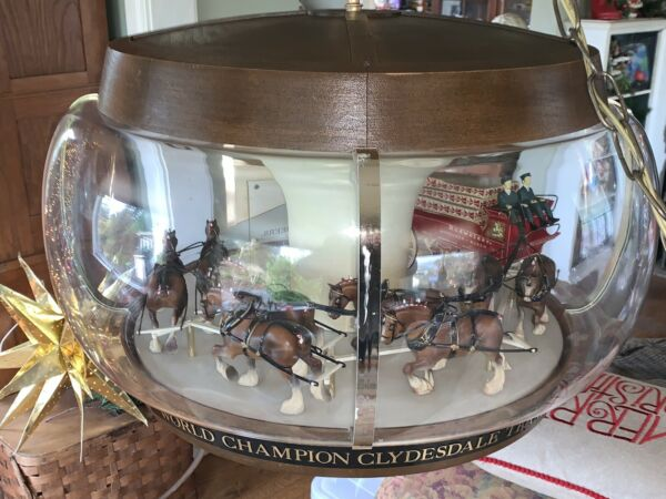 Rare ORIGINAL WORKING Budweiser Beer Clydesdale Parade Rotating Carousel Light