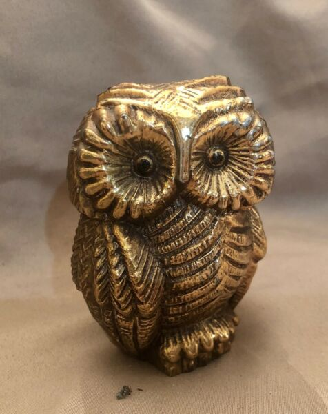 Vintage Cast Big Eyed Owl with Brass Overlay Ceramic Figurine