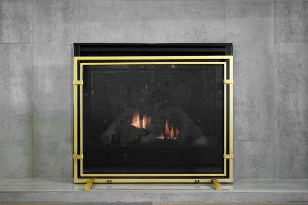 Single Panel Fireplace Screen 39quot;x30.5quot; Wrought Mesh Spark Guard Protector Gate