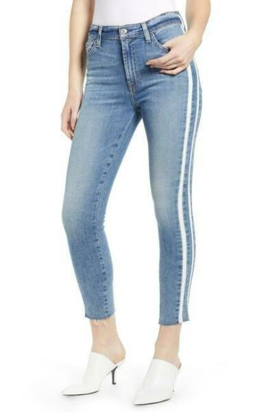 7 for all mankind Ankle Skinny Cut Off Jeans Double Stripes Sloane Vintage 32