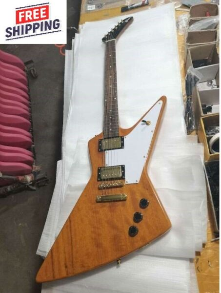 Custom Explorer 76 Natural Wood Electric Guitar 6 String New Free shipping $409.00