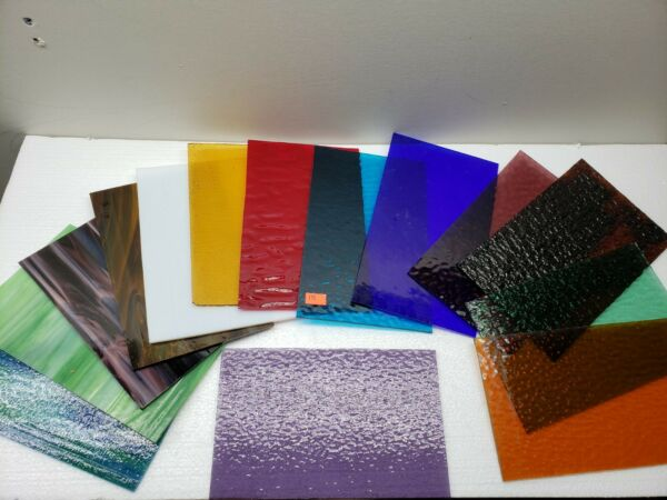 Assorted Stained Glass Sheets 11pcs 8quot; by 5quot; #1606