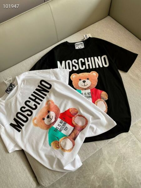 2021 Hot New moschino Men#x27;samp;women national flag bear Short Sleeve Cotton T Shirt $16.99