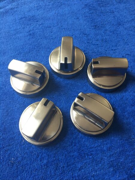GE WB03X24965 Stove Burner Control Knobs Silver Set of 5