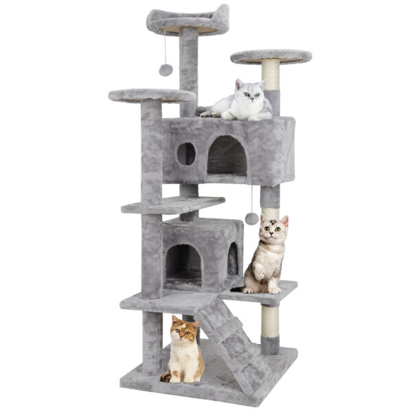 53quot; Cat Tree Activity Tower Pet Furniture Sisal Covered Scratch Post Play Relax $53.99