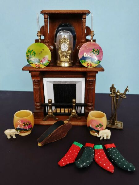 VTG CONCORD Dollhouse Miniature VICTORIAN MIRRORED FIREPLACEamp; 22 Accessories LOT