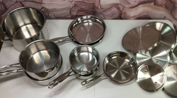 CUISINART Stainless Steel 14 pc. Cookware Set Some New Others Gentle Use