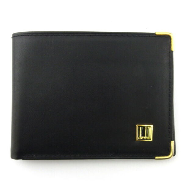 dunhill wallets logo plate leather Auth B1131 $280.80