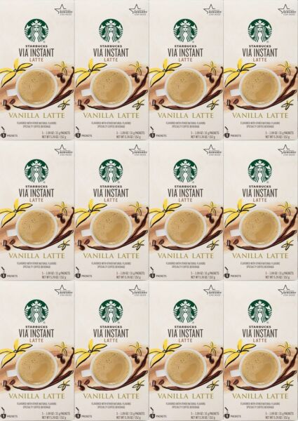 12 Boxes Starbucks VIA Instant Latte Vanilla 5 Packets Each 60 Total BBD 1 2021
