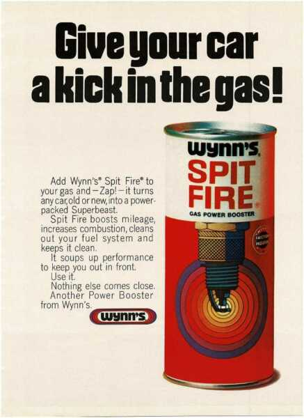 1970 WYNN#x27;S Spit Fire gas power booster Vintage Print Ad