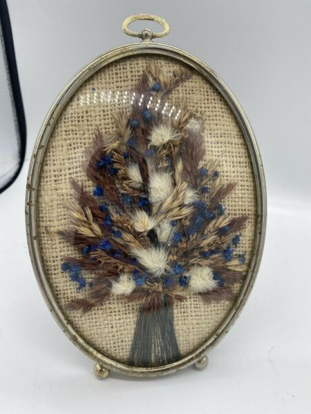 Vintage Convex Bubble Glass Dried Flowers on Burlap Brown Velvet Back Stand.