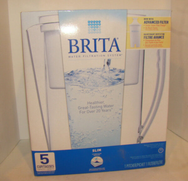 Brita Water Filtration 5 Cup Slim BPA Free Water Pitcher Slim