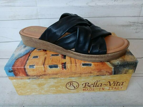 Bella Vita Woman#x27;s Size 12 M Tor Italy Black Leather Multi Banded Slide Sandal