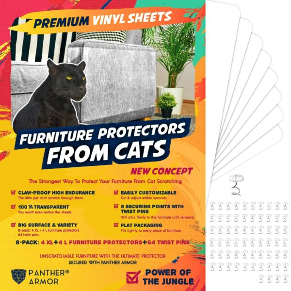 Panther Armor Furniture Protectors from Cat Scratch 8 Eight Pack – Couch G... $33.18