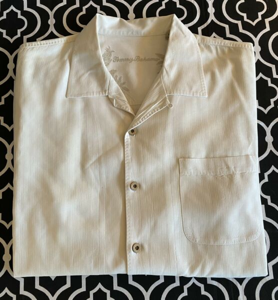 Men#x27;s Tommy Bahama short sleeve silk button up shirt Ivory L large vacation $16.99