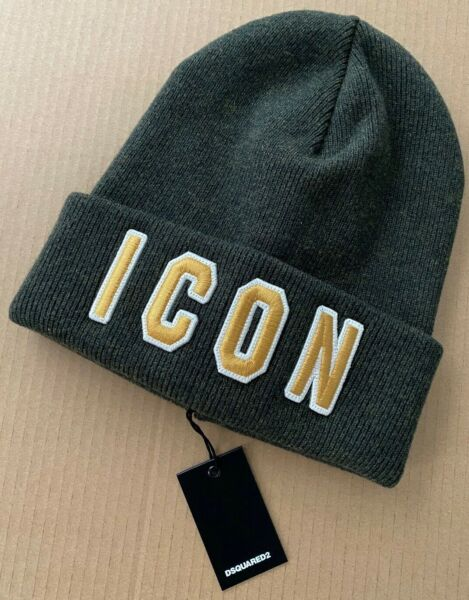 Dsquared2 Beanie Hat Cap Green 100% Wool Varsity Letters ICON One Size Italy $125.00