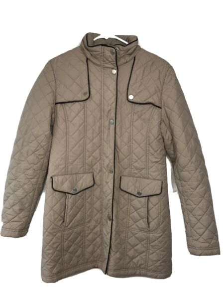Tommy Hilfiger Jacket Womens Brown Collared Snap Zip Winter Coat Quilted 32x18 $18.00