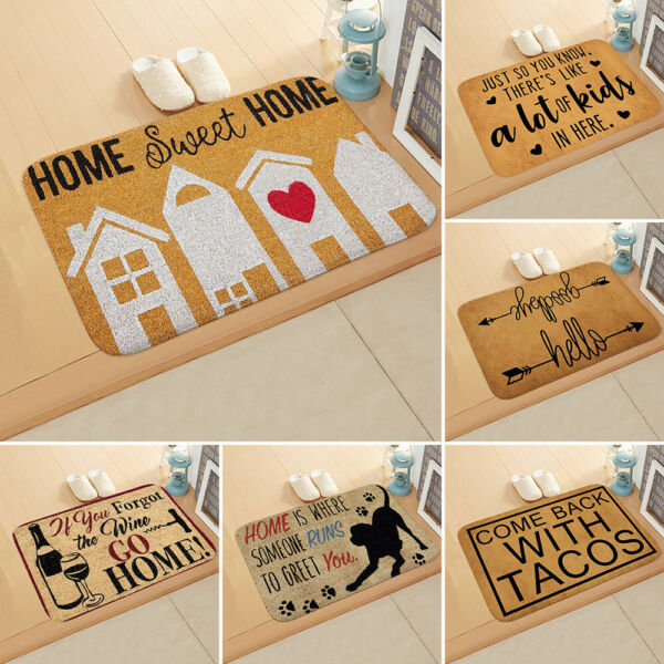 Funny Letter Outdoor Mat Welcome Home Carpet Entrance Floor Rug Non slip Doormat