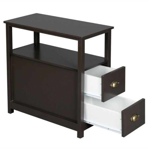 Sofa Side End Table with Drawer Bedside Tables Nightstands Bedroom Storage Shelf