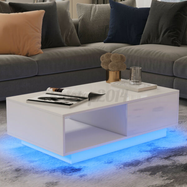 LED Glossy Modern Coffee Table with 2 Drawer Storage White End Table Living Room