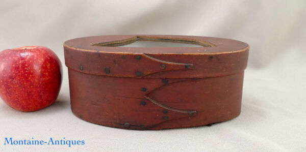 Red Painted Three Finger Shaker Pantry Box c. early 19th cent