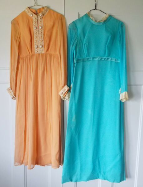 Vintage Dresses Gowns 50#x27;s 60#x27;s 70#x27;s Beaded Peach Blue Long Sleeve Retro Lot F