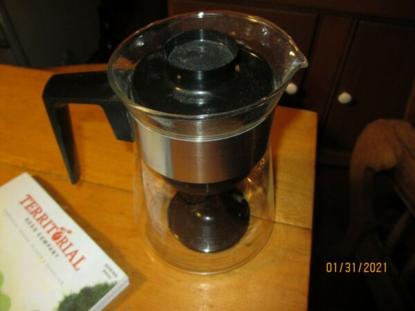 Corning Pyrex Glass 4 6 Cup Coffee Stovetop ATOMIC Gold Design MOD