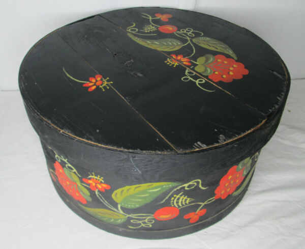 Antique Pantry Box Large Wooden Bentwood Hand Painted Tole Black 1800s Farmhouse