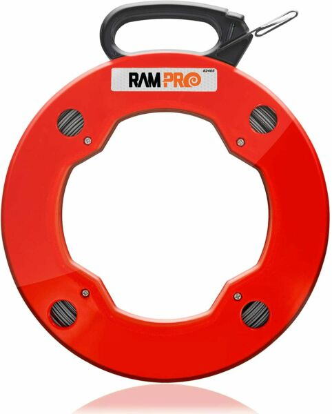 200 Foot Reach Spring Steel Fish Tape Reel with High Impact Case $29.99