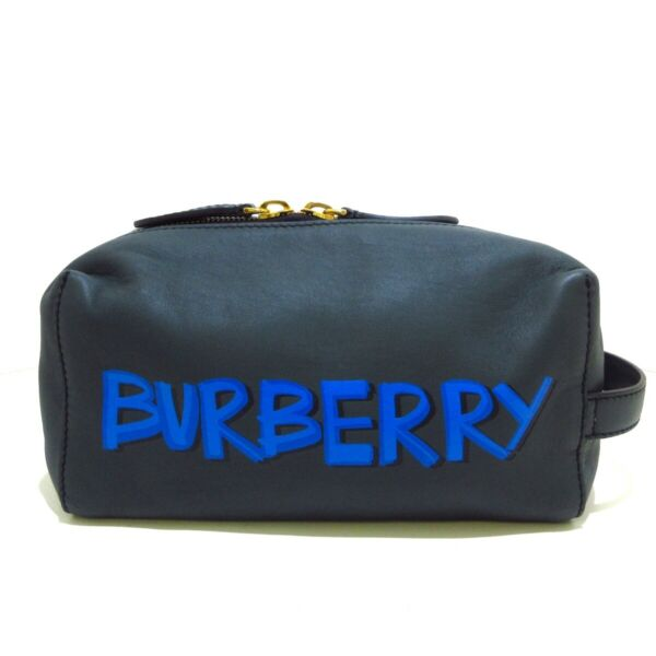 Auth Burberry Green Blue Leather Mens Clutch Bag $369.00