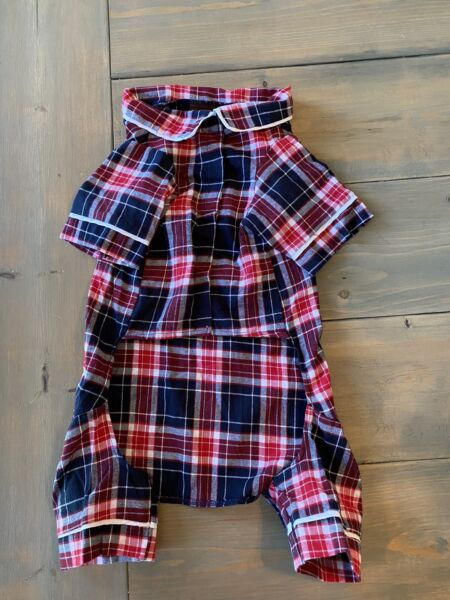 "NWT Fab Dog Medium Dog Puppy Pet Flannel Blue Plaid PJ Pajamas Red Blue 20"" $11.99"