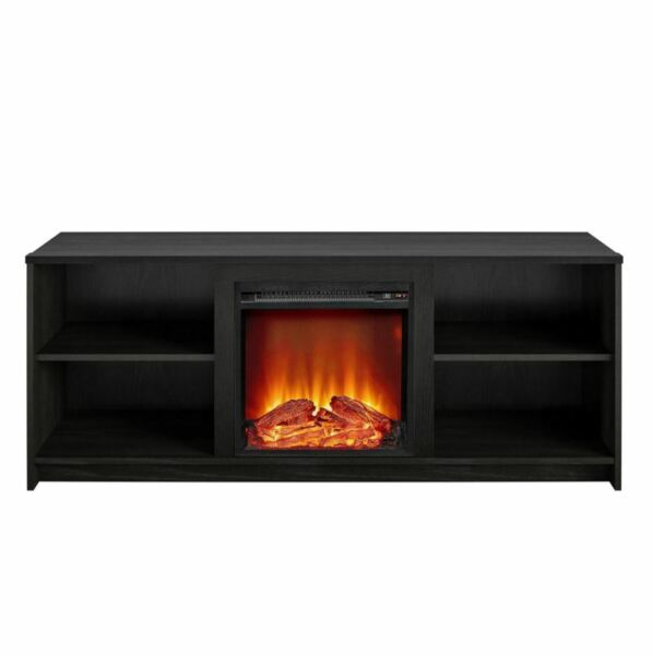 Fireplace Tv Stand Electric Console up to 65 Media Storage Wood Heater Black Oak