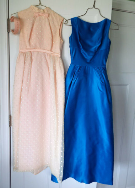 Vintage Dresses Gowns 50#x27;s 60#x27;s 70#x27;s Blue Satin Bows Peach Swiss Dot Cream Lot E