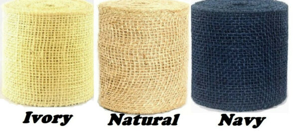 4quot; Burlap Ribbon Roll 10 yards 30 ft 3 colors