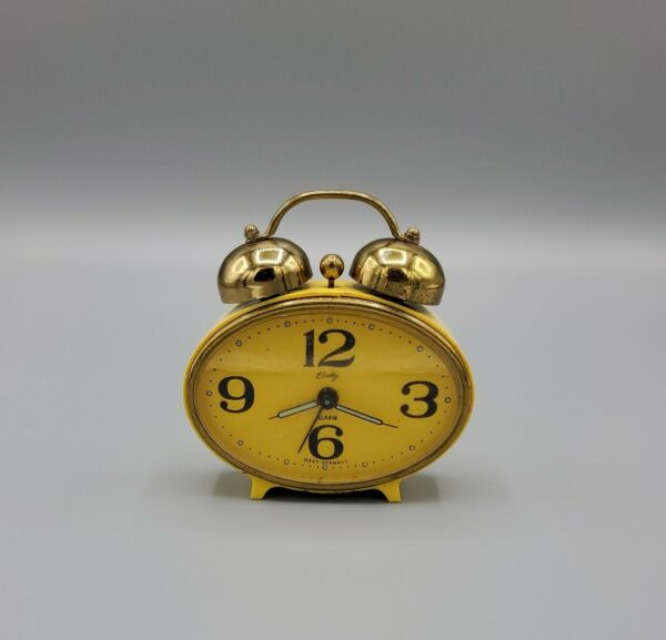 Bradley yellow oval Alarm Clock Made in West Germany Vintage double bell PARTS $25.00