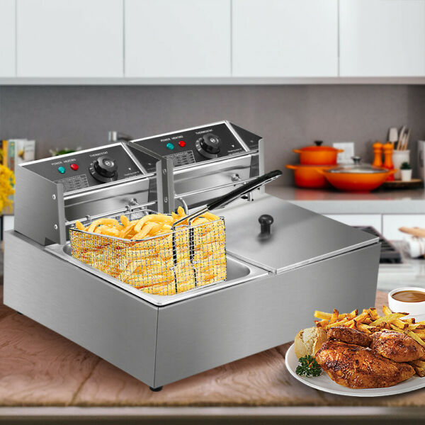 5000W Electric Deep Fryer Stainless Steel Dual Tank Restaurant Home 12L 12.9QT $55.00