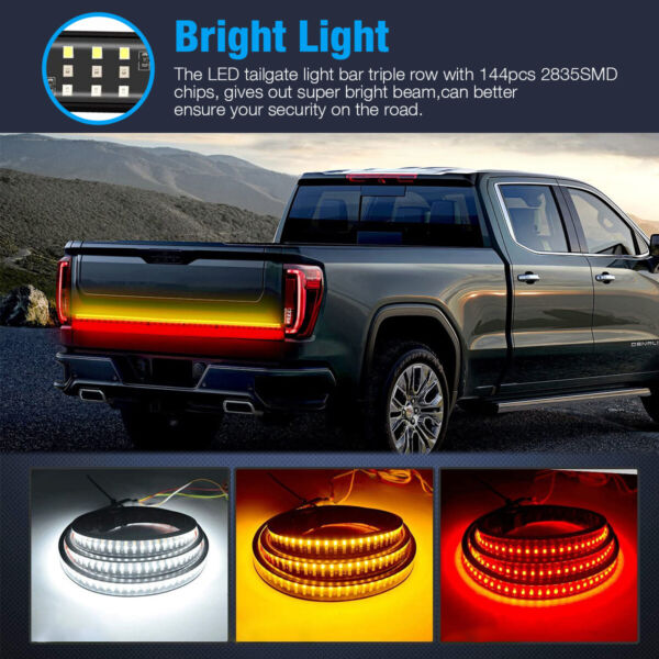 48quot; Inch Tailgate LED Strip Bar Truck Stop Brake Turn Signal Tail Light For FORD