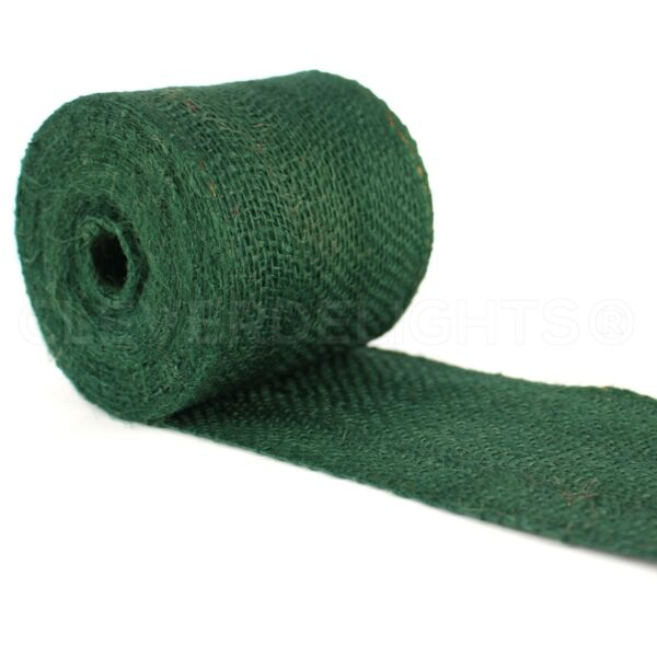 4quot; Green Burlap Ribbon 10 Yards Wired Edge Premium Jute Craft Decor Bows